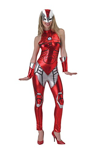 Secret Wishes Women's Marvel Universe Iron Man Secret Wishes Rescue Costume Cat Suit and Mask, Multicolor, (Iron Man Womens Halloween Costume)
