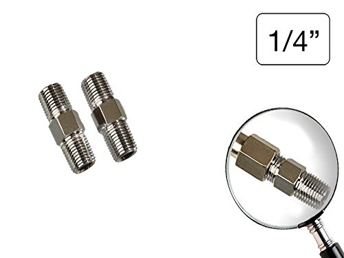 2 Stück Druckluft Doppelnippel 1/4' Außengewinde BSPT konisch zulaufend verzinkt