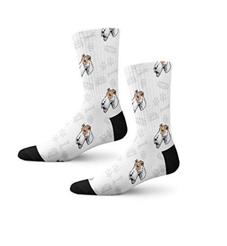 Fox Terrier Bone - Fox Terrier Wire Dog Bone Bowl Collar Novelty Cuff Crew Men Women Socks Medium