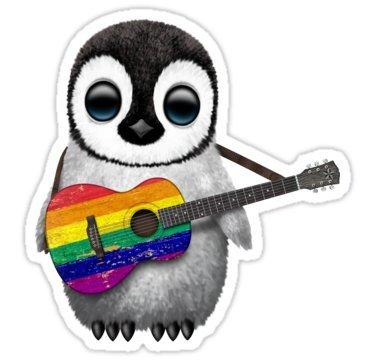 Chili Print Baby Penguin Playing Gay Pride Rainbow Flag Guitar - Sticker Graphic Bumper Window Sicker Decal - Gay Pride Sticker