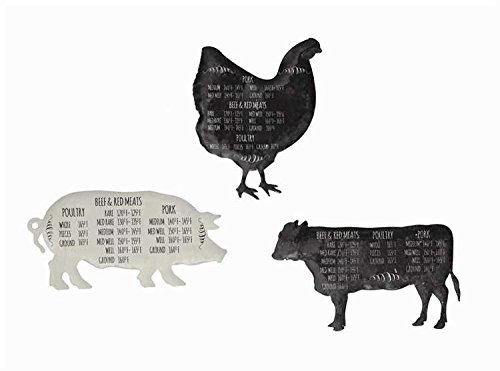 Meat Temperature Chart Tin Farm Animal Magnets - 2 Sets of 3