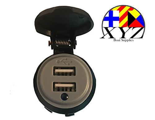 XYZ Boat Supplies Waterproof 4.2 Amp Dual USB Charger Socket for Boat/Car/ RV/Motorhome/ Motocycle ()