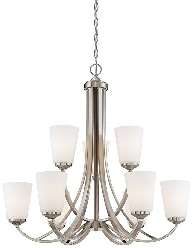 Minka Lavery Minka 4969-84 Transitional Nine Light Chandelier from Overland Park Collection in Pwt, Nckl, B/S, Slvr.Finish, 30.00 inches 2 Tier 9 Ch, Upc-747396068404