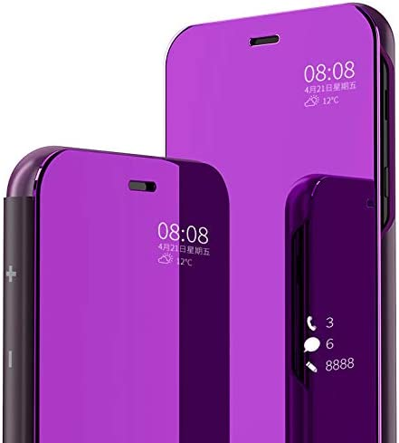 Shinetop Cases for Samsung Galaxy J7 2018//Galaxy J7 V 2nd Gen//J7 Refine//J7 Star//J7 TOP//J7 Aero//J7 Crown Luxury Smart Clear View Mirror Case Plating PC Flip Folio Stand Cover Full Body Protective Case