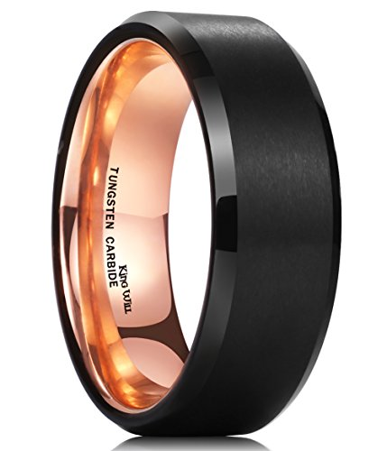 - King Will Men 8mm Matte Brushed Black Tungsten Carbide Ring 18K Rose Gold Plated Comfort Fit Wedding Band 9.5