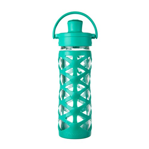 Price comparison product image Lifefactory 16-Ounce BPA-Free Glass Water Bottle with Active Flip Cap and Silicone Sleeve, Aquatic Green