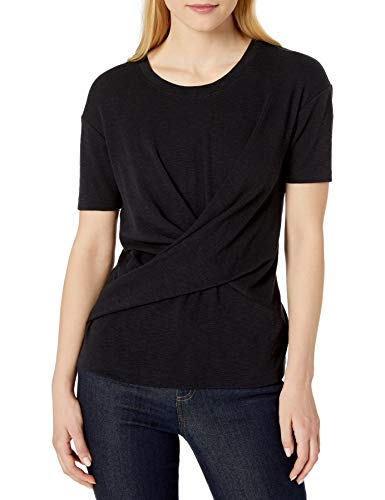 Amazon Brand – Daily Ritual Women's Cotton Modal Stretch Slub Short-Sleeve Wrap T-Shirt