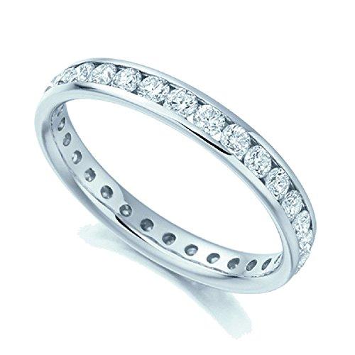 RRP £3400.. 1carats Diamant rond complet de mariage Eternity Bague en or blanc 18K