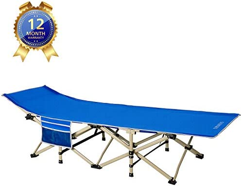 DRMOIS Camping cots, Oversized Portable Foldable Outdoor Bed with Carry Bag, Heavy Duty Camp Cots for Traveling Beach Vocation and Indoor Office Nap Home Lounging, Support 500 Lbs