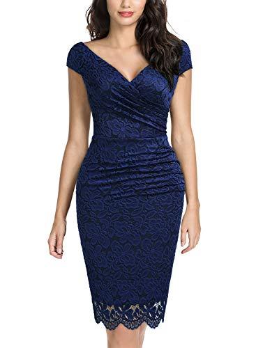 (Miusol Women's Retro Deep-V Neck Ruffles Floral Lace Evening Pencil Dress (Medium, B-Navy)