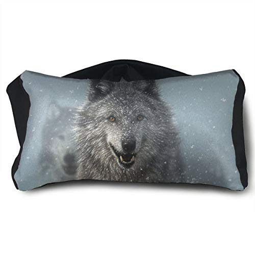 SUNNMOON Animal Wolf Running in Snow Neck Travel Pillow and Eye Mask Compact Versatile and Pillow for Airplanes, Travel Pillow and Eye Mask Washable Pillows by SUNNMOON