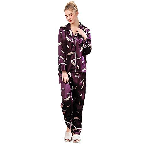 Pijamas De Tamaño Seda L Bolsillo Larga Botón Y Conjunto l Purple Mujer Manga Camisón Purple Con Camisa xl Ropa Casual color qp5rqUgw