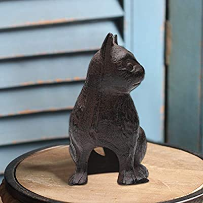 Cast Iron Feng shui Sitting Cat Statue-Cat Sculpture Animal Crafts Iron Hollow Cat Modeling Ornaments Statue Sculpture for Indoor Home Outdoor Garden Art Decor - Antique Replica Rust Color PTZD006 : Garden & Outdoor