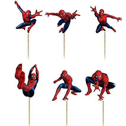 24PCS Spiderman Cupcake Toppers For Kids Birthday Party Cake Decorations
