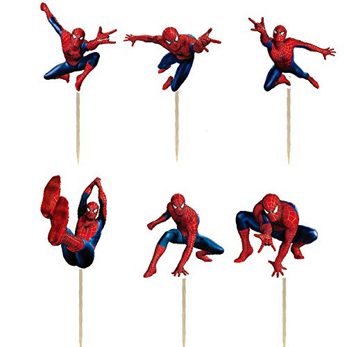 24PCS Spiderman Cupcake Toppers For Kids Birthday Party Cake Decorations -