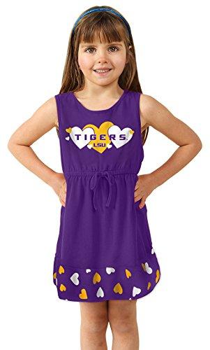NCAA Lsu Tigers Girls Infant Heart Dress, 0-3 Months, Purple