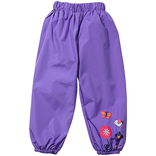 LZH Baby Girls Flower Waterproof Children's Outwear Rain Pants (Flowers Rain Purple)