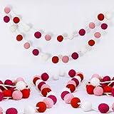 "Supla 6' Long Pom Pom Garland 24 Pcs 1"" Diameter Wool Felt Balls Garland Strand Red Pink Rose White Ball Garland Valentine's Day Party Garland Tree Garland for Mantel Wall Child's Room Nursery Décor"
