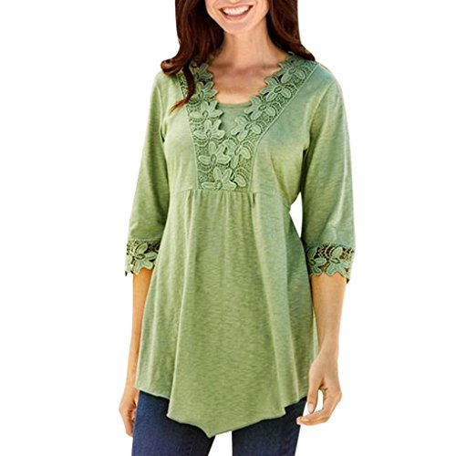 Hot Sale! Clearance! Plus Size! Todaies Women Spring Casual Basic Solid Laciness Stitching Half Sleeve T-shirt Top Blouse (2XL, Green)