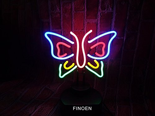 Butterfly Handicrafted Real Glass Tube Neon Sculpture with PLASTIC BASE as A4 size for Beer Bar Pub Garage Room (Neon Sculpture Bar)