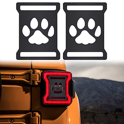 (Sunluway Taillights Covers Aluminum Rear Taillights Light Guards Tail Light Cover Matte Black Protector Accessories for 2018 Jeep Wrangler JL Sport/Sports Dog Paw Style(2 Pack))
