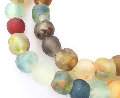 Handmade Ghana Mixed Colored Krobo Recycled Glass African Trade Beads-Ghana