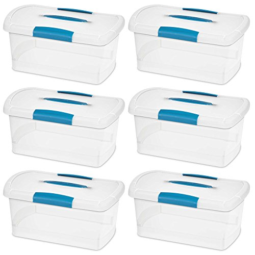 sterilite-18748606-medium-nesting-showoffs-clear-with-blue-aquarium-handle-and-latches-6-pack
