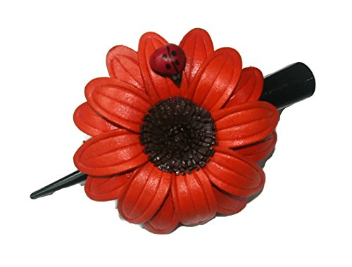 Bella Pazzo Big beautiful Handmade Orange color Genuine leather sunflower flower with ladybug Hair clip for women and girls ()
