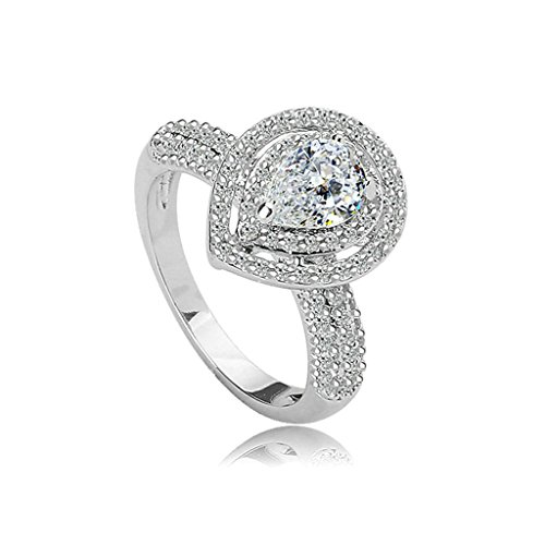 Daesar Gold Plated Rings Women Wedding Bands V-Prong White CZ Rings Bezel Rings for Women Size 5 (Tibet Old Inlay)