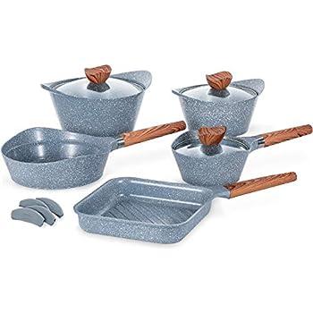Ceramic Cookware Set Dishwasher Safe 100% PFOA Free Aluminum Induction Nonstick Pots and Pans Set - 12 - Piece - Grey