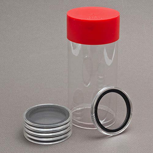(1) Airtite Coin Holder Storage Container & (5) Air-tite 13mm Black Ring Coin Holder Capsules for 1/20oz Gold Libertads