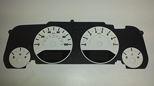 US Speedo WRA 080 - Daytona Edition Gauge Face - Custom White with White Night - 100 MPH 4Ga, 1 Or 2 Window - for: Jeep Wrangler JK 07-14 (White)