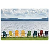 Lunarable Adirondack Pet Mat for Food and Water, Eight Colorful Adirondack Chairs on The Coast Looking Out on The Lake Design, Rectangle Non-Slip Rubber Mat for Dogs and Cats, Multicolor