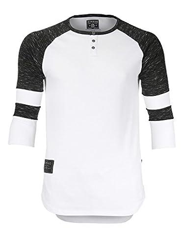 ZIMEGO Men's 3/4 Short Sleeve Raglan Henley Baseball T-Shirt with Round Bottom (Large, Zfls136 White Fulfilled By - Long Sleeve Raglan Baseball