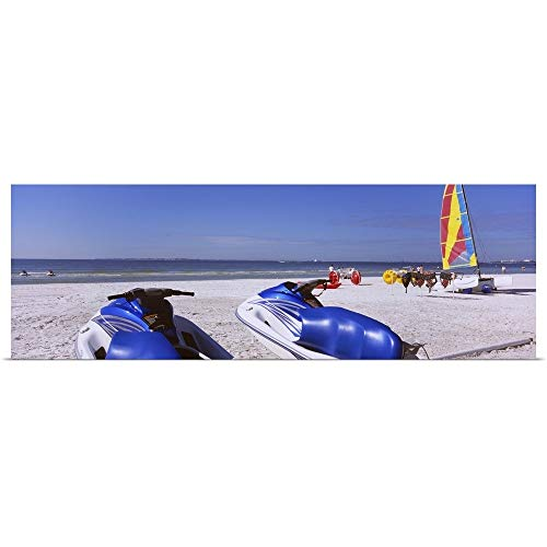 GREATBIGCANVAS Poster Print Entitled Two Jet Boats and a Windsurfing Board on The Beach, Fort Myers Beach, Bowditch Point Regional Park, Gulf of Mexico, Florida by 36