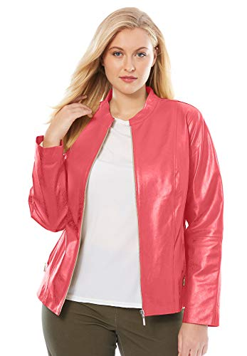 Jessica London Women's Plus Size Zip Front Leather Jacket - Coral Rose, 24 W ()
