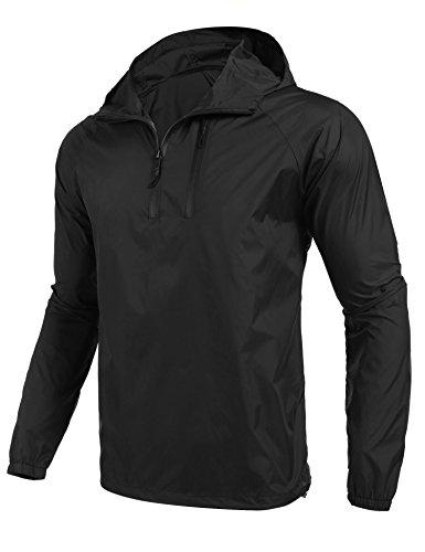 Coofandy Chaqueta Impermeable Hombre Outdoor Montañismo con Capucha de Viento Negro