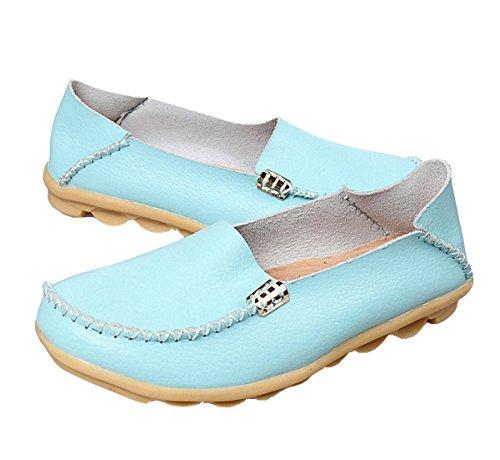 Loafer Schoenen, Vrouwen Platte Instappers Lederen Slip Op Slippers Casual Wandelen Rijden Schoenen Meer Blauw