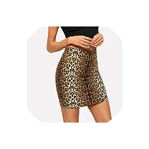 (Multicolor Leopard Print Skirt Casual Mid Waist Zipper Night Out Mini Skirts,Multi,M)