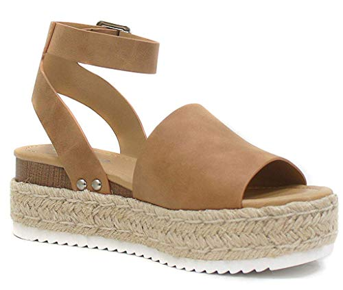 SODA Womens JDTopic2 Casual Espadrille Trim Rubber Sole Flatform Studded Wedge Buckle Ankle Strap Open Toe Sandals Tan, 6