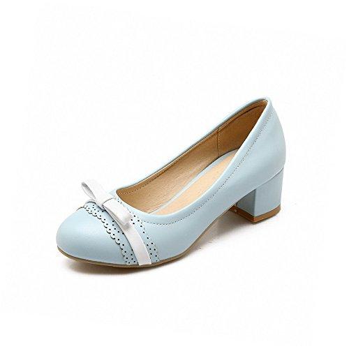 Odomolor Damen Niedriger Absatz Rund Zehe Gemischte Farbe Ziehen auf Pumps Schuhe Blau