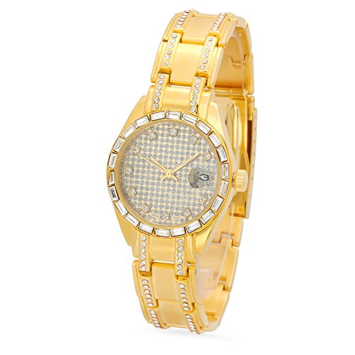 Men's Gold Plated Geneva CZ Bezel Watch w/Gold/Silver Dial & CZ (Gold Bezel Watch)