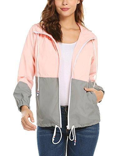 Lightweight Waterproof Jackets (zhenwei Women Rain Jacket Lightweight Waterproof Raincoat Hoodie Outdoor Casual Coat Pink M)