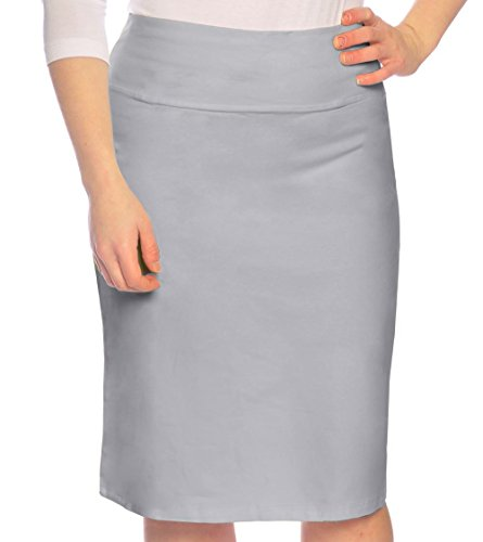 Kosher Casual Women's Modest Knee Length Stretch Pencil Skirt In Cotton Lycra Extra Small Silver Grey