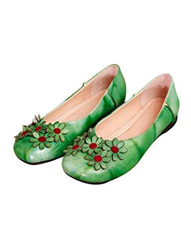 Fait main Fleurs Youlee Femmes Cuir Appartement Chaussures qzx4E1WPn