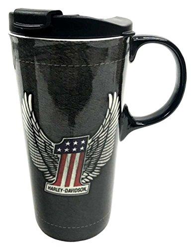 Harley-Davidson The Perfect Ceramic Travel Cup, Winged #1 Logo, 17 oz. - Novelty Box Davidson Harley