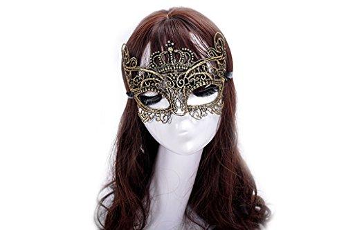 Style Black Mask Gold With Half (Venusvi Masquerade Mask Halloween Venetian Style Black Eye Mask Elegant Prom Luxury Eye mask for Sexy Lady Girl)