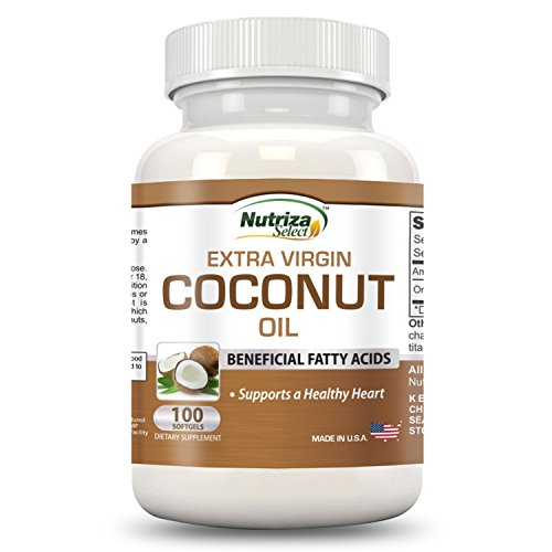 Nutriza Extra Virgin Organic Coconut Oil Capsules – Improve Immunity & Brain Function Supports Healthy Heart – 100 Softgels, 1000mg Each – Cold-Pressed – GMP Compliant Facility – Made in the USA
