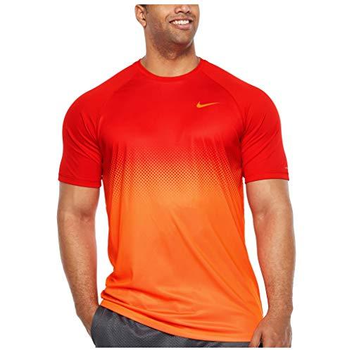 Nike Men's Big and Tall Dri-Fit Swim Fade Mist Hydroguard T-Shirt, UPF 40+ (University Red/Orange, 2X Tall) (Nike Men Swim Shirt)