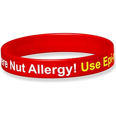 Severe Nut Allergy Silicone Wristband-18cm -Red Estimated Price £4.95 -